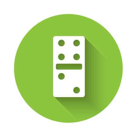 White Domino icon isolated with long shadow. Green circle button. Vector Illustration.