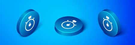 Isometric Stopwatch icon isolated on blue background. Time timer sign. Chronometer sign. Blue circle button. Vector Illustration. Ilustração