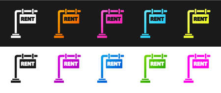 Set Hanging sign with text Rent icon isolated on black and white background. Signboard with text For Rent. Vector Illustration.