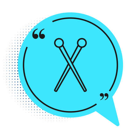Black line Knitting needles icon isolated on white background. Label for hand made, knitting or tailor shop. Blue speech bubble symbol. Vector Illustration.