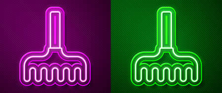Glowing neon line Garden rake icon isolated on purple and green background. Tool for horticulture, agriculture, farming. Ground cultivator. Vector Illustration.