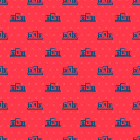 Blue line Award over sports winner podium icon isolated seamless pattern on red background. Vector Illustration.