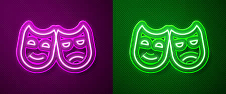 Glowing neon line Comedy and tragedy theatrical masks icon isolated on purple and green background. Vector Illustration Vettoriali
