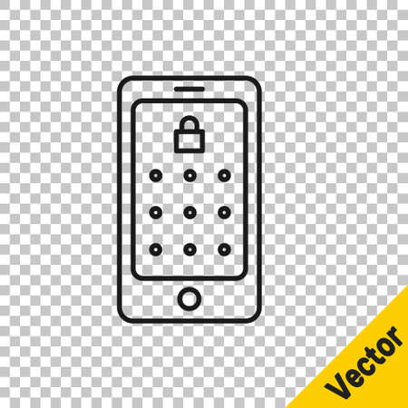Black line Mobile phone and graphic password protection icon isolated on transparent background. Security, personal access, user authorization. Vector Illustration