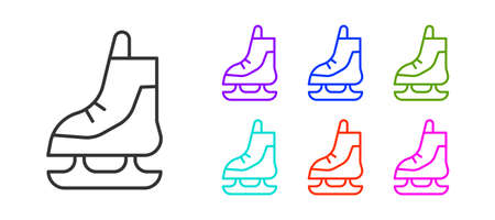 Black line Skates icon isolated on white background. Ice skate shoes icon. Sport boots with blades. Set icons colorful. Vector Illustration.