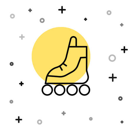 Black line Roller skate icon isolated on white background. Random dynamic shapes. Vector Illustration.