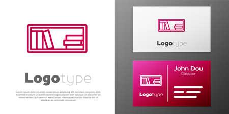 Logotype line Shelf with books icon isolated on white background. Shelves sign.