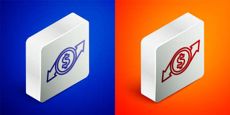 Isometric line Financial growth and dollar coin icon isolated on blue and orange background. Increasing revenue. Silver square button. Vector Illustration Vettoriali