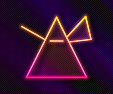 Glowing neon line Light rays in prism icon isolated on black background. Ray rainbow spectrum dispersion optical effect in glass prism. Vector Illustration. Vecteurs