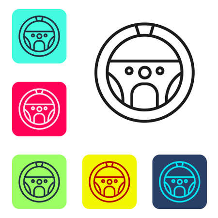 Black line Steering wheel icon isolated on white background. Car wheel icon. Set icons in color square buttons. Vector Illustration.