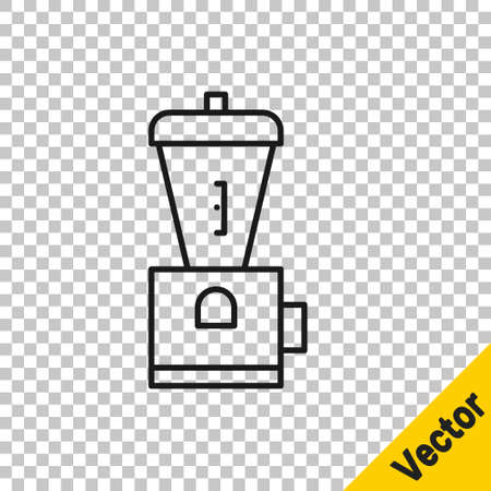 Black line Electric coffee grinder icon isolated on transparent background. Vector Illustration. Illusztráció