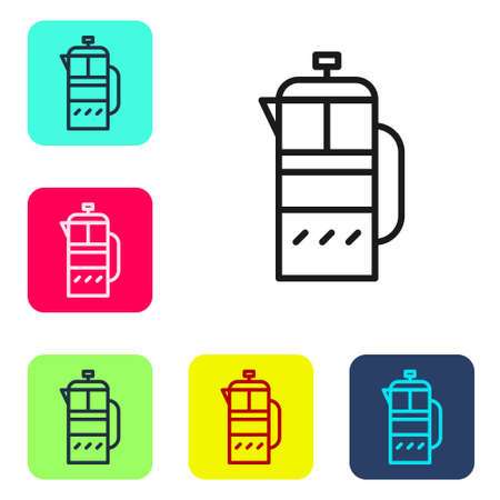 Black line French press icon isolated on white background. Set icons in color square buttons. Vector Illustration. Çizim