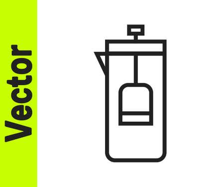 Black line French press icon isolated on white background. Vector Illustration. Çizim