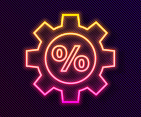 Glowing neon line Gear with percent icon isolated on black background. Vector Illustration. Vettoriali