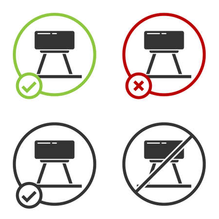 Black Pommel horse icon isolated on white background. Sports equipment for jumping and gymnastics. Circle button. Vector Illustration. Ilustração