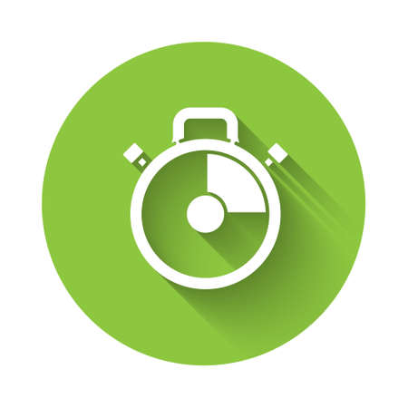 White Stopwatch icon isolated with long shadow. Time timer sign. Chronometer sign. Green circle button. Vector Illustration. Ilustração