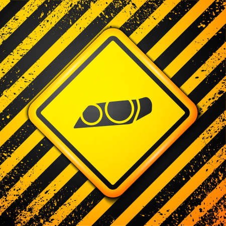 Black Car headlight icon isolated on yellow background. Warning sign. Vector Illustration. Illustration