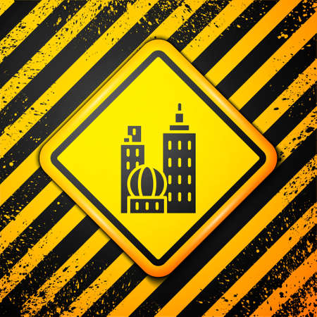 Black City landscape icon isolated on yellow background. Metropolis architecture panoramic landscape. Warning sign. Vector Illustration.  イラスト・ベクター素材