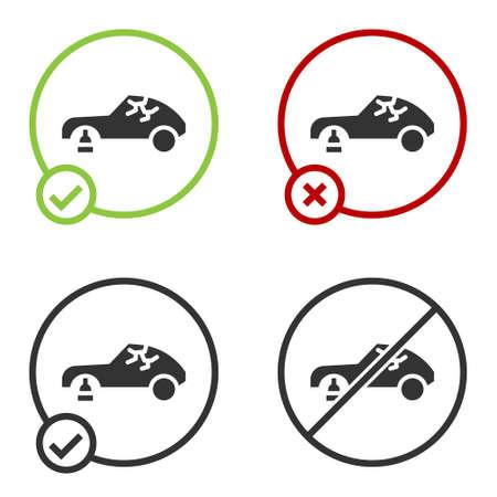 Black Broken car icon isolated on white background. Car crush. Circle button. Vector Illustration. Stock Illustratie