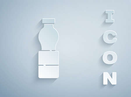 Paper cut Bottle of water icon isolated on grey background. Soda aqua drink sign. Paper art style. Vector Illustration.