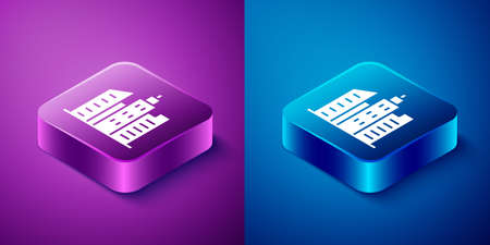 Isometric City landscape icon isolated on blue and purple background. Metropolis architecture panoramic landscape. Square button. Vector Illustration.  イラスト・ベクター素材