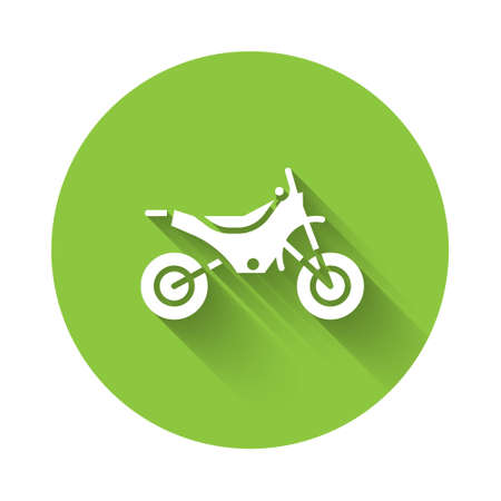 White Mountain bike icon isolated with long shadow. Green circle button. Vector Illustration.
