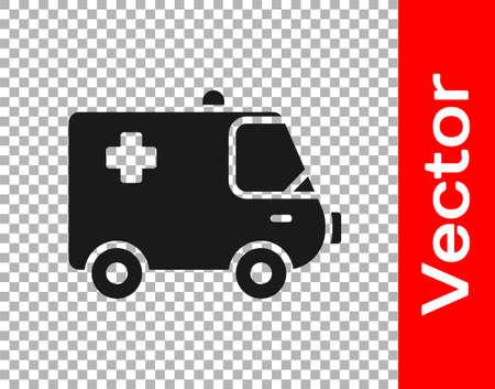 Black Ambulance and emergency car icon isolated on transparent background. Ambulance vehicle medical evacuation. Vector Illustration. Ilustração Vetorial