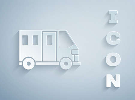 Paper cut School Bus icon isolated on grey background. Public transportation symbol. Paper art style. Vector Illustration.