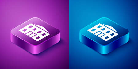 Isometric School building icon isolated on blue and purple background. Square button. Vector Illustration. Stock Illustratie