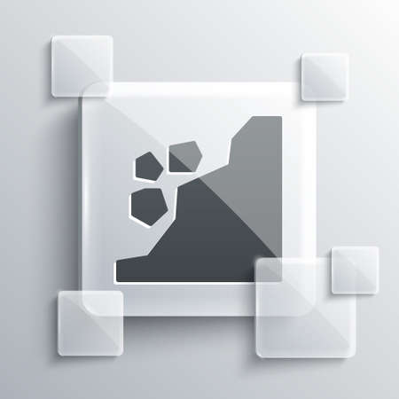 Grey Landslide icon isolated on grey background. Stones fall from the rock. Boulders rolling down a hill. Rockfall. Square glass panels. Vector Illustration. 向量圖像