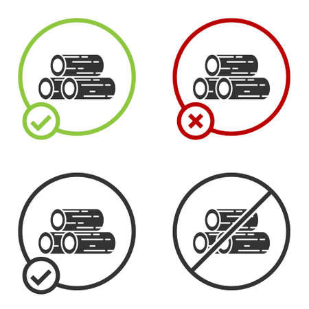 Black Wooden logs icon isolated on white background. Stack of firewood. Circle button. Vector Illustration. Illustration