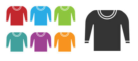 Black Sweater icon isolated on white background. Pullover icon. Set icons colorful. Vector Illustration.