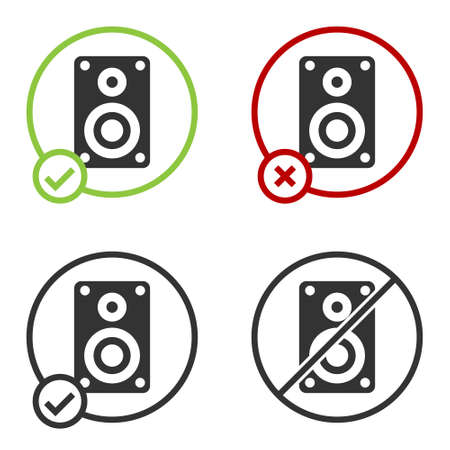Black Stereo speaker icon isolated on white background. Sound system speakers. Music icon. Musical column speaker bass equipment. Circle button. Vector Illustration.