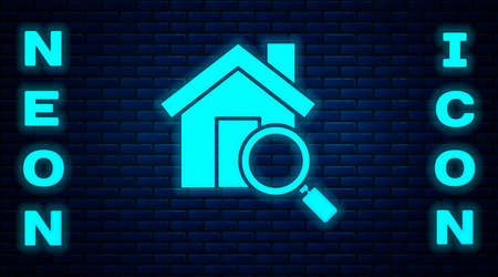 Glowing neon Search house icon isolated on brick wall background. Real estate symbol of a house under magnifying glass. Vector Illustration.