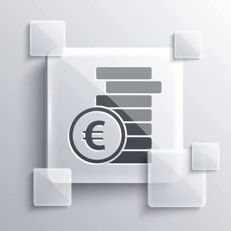 Grey Coin money with euro symbol icon isolated on grey background. Banking currency sign. Cash symbol. Square glass panels. Vector Illustration. Ilustração
