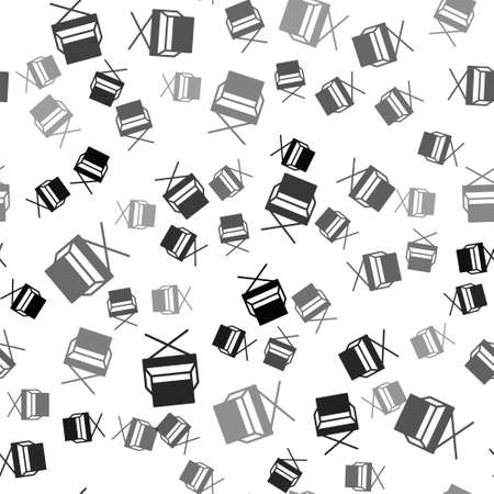 Black Director movie chair icon isolated seamless pattern on white background. Film industry. Vector Illustration.