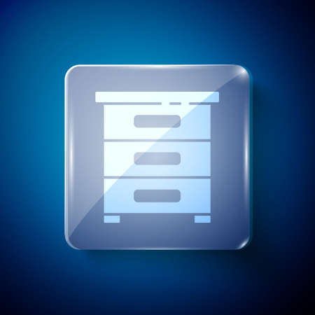 White Drawer with documents icon isolated on blue background. Archive papers drawer. File Cabinet Drawer. Office furniture. Square glass panels. Vector Illustration. Archivio Fotografico - 150429968