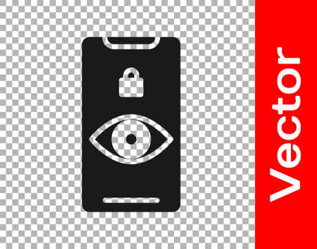Black Eye scan icon isolated on transparent background. Scanning eye. Security check symbol. Cyber eye sign. Vector Illustration. Stock Illustratie
