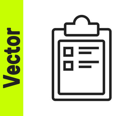 Black line Sport training program or fitness plan icon isolated on white background. Vector Illustration.