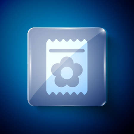 White Pack full of seeds of a specific plant icon isolated on blue background. Square glass panels. Vector Illustration.