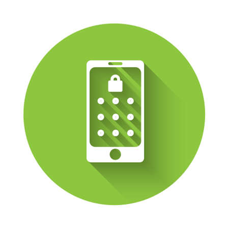 White Mobile phone and graphic password protection icon isolated with long shadow. Security, personal access, user authorization. Green circle button. Vector Illustration. Vettoriali
