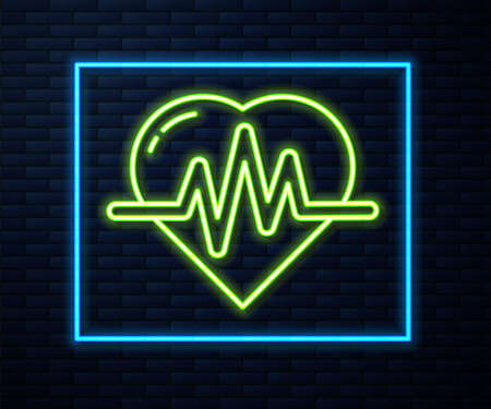 Glowing neon line Heart rate icon isolated on brick wall background. Heartbeat sign. Heart pulse icon. Cardiogram icon. Vector Illustration. Ilustracja
