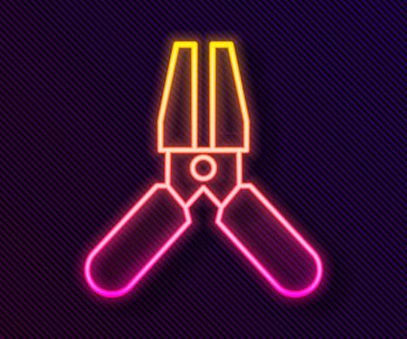 Glowing neon line Car battery jumper power cable icon isolated on black background. Vector Illustration.