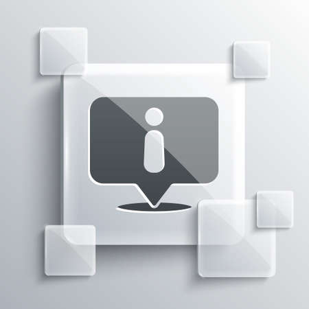 Grey Information icon isolated on grey background. Square glass panels. Vector Illustration.