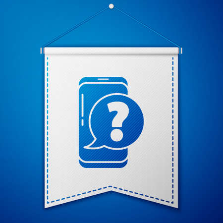 Blue Mobile phone with question icon isolated on blue background. White pennant template. Vector Illustration. Illustration