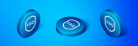 Isometric Shield with text FAQ information icon isolated on blue background. Guard sign. Security, safety, protection, privacy concept. Blue circle button. Vector Illustration.