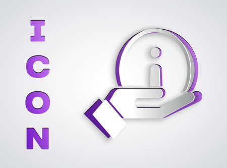 Paper cut Information icon isolated on grey background. Paper art style. Vector Illustration. Illusztráció