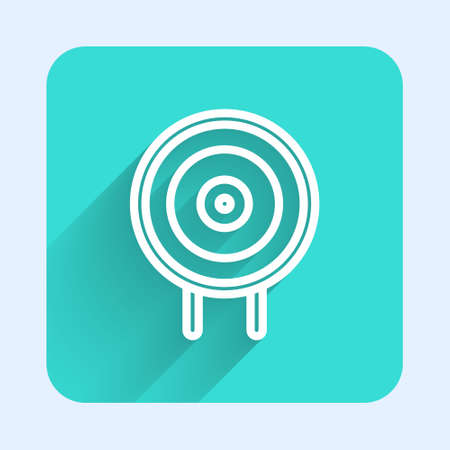White line Target sport icon isolated with long shadow. Clean target with numbers for shooting range or shooting. Green square button. Vector Illustration.