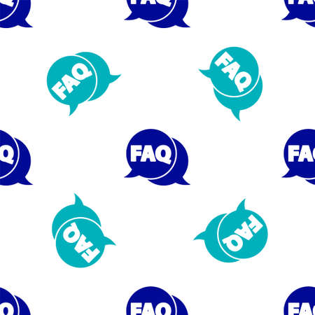 Blue Speech bubble with text FAQ information icon isolated seamless pattern on white background. Circle button with text FAQ. Vector Illustration. Illusztráció