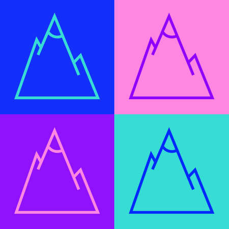 Pop art line Mountains icon isolated on color background. Symbol of victory or success concept. Vector Illustration